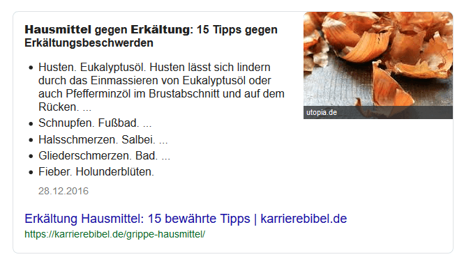 """Featured Snippet zur Anfrage """"Hausmittel Erkältung"""""""