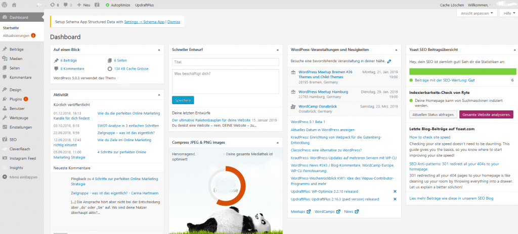 Wordpress Backend einer Website