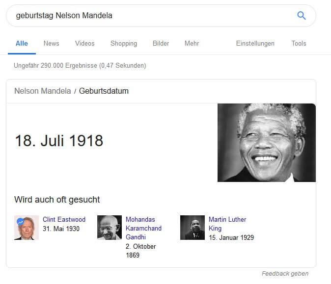 Know-Simple Keywords geben die Antwort schon direkt in Google