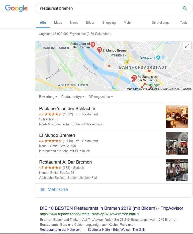 Lokale Suchanfragen mit Bezug zur Stadt