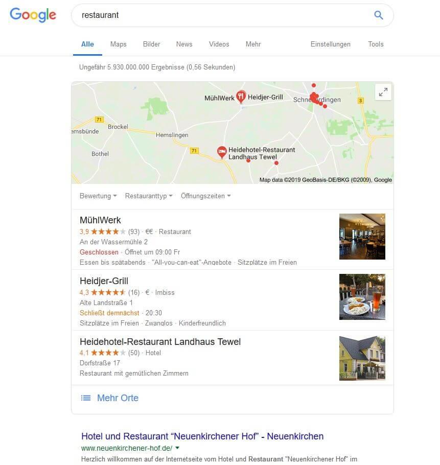 Lokale Suchanfragen brauchen nicht zwingend einen Ort