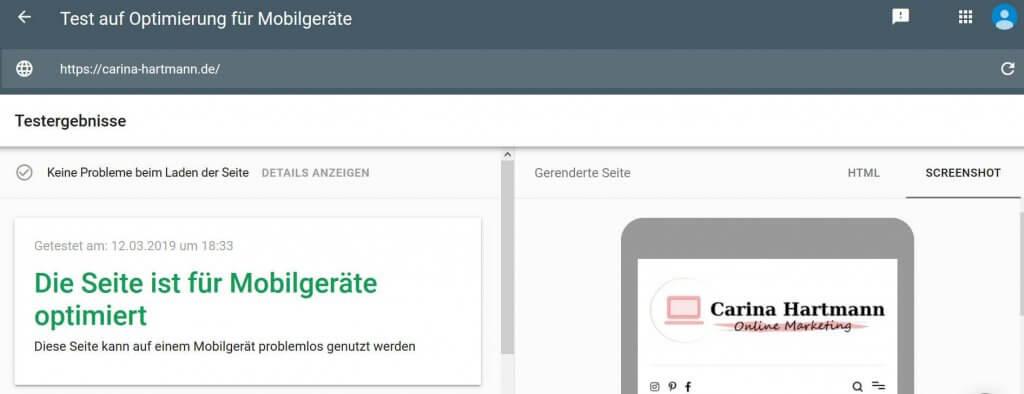 Mit Googles Tool kann man die mobile Optimierung der Website überprüfen
