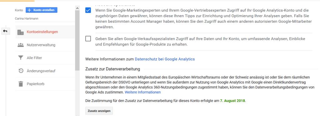 AV-Vertrag für Google Analytics