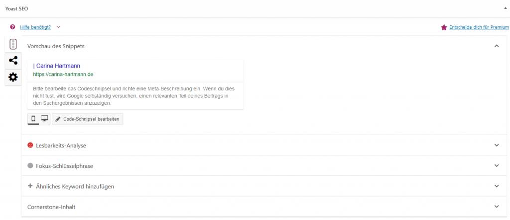 In der Yoast SEO Meta Box optimierst du deinen Beitrag oder deine Seite