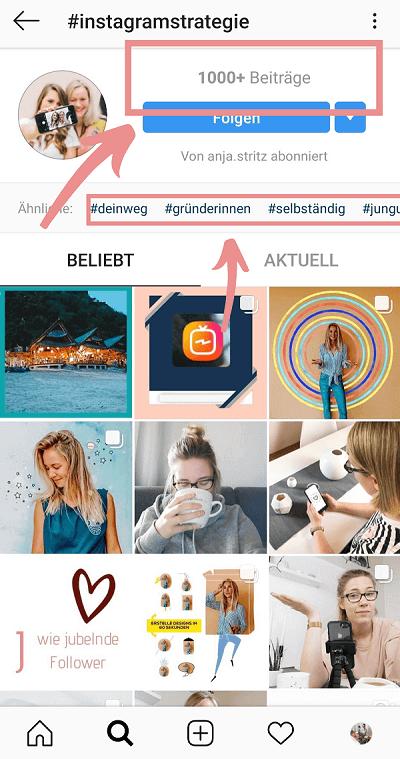 Instagram Hashtags Beitragsvolumen und ähnliche