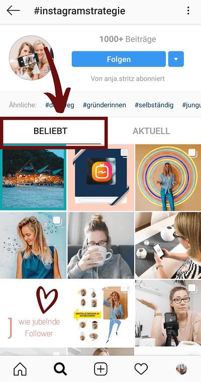 Beliebte Beiträge Instagram Hashtags