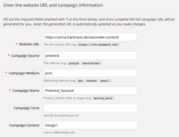 Campagin URL Builder zum Pin Tracking