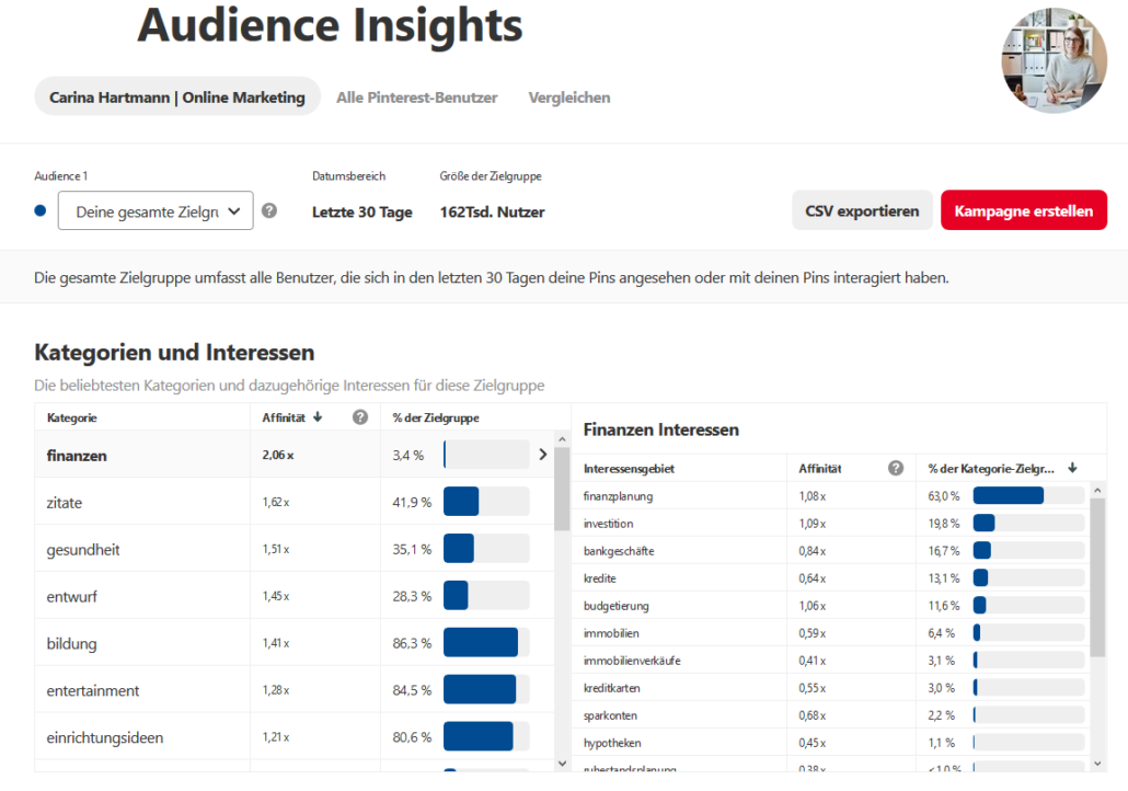 Pinterest Analytics - Audience Insights