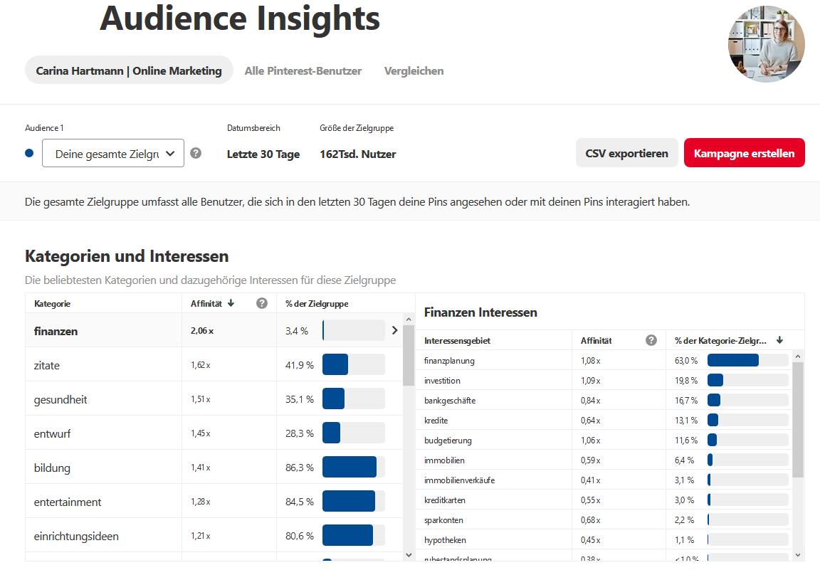 Pinterest Analytics - Audience Insights