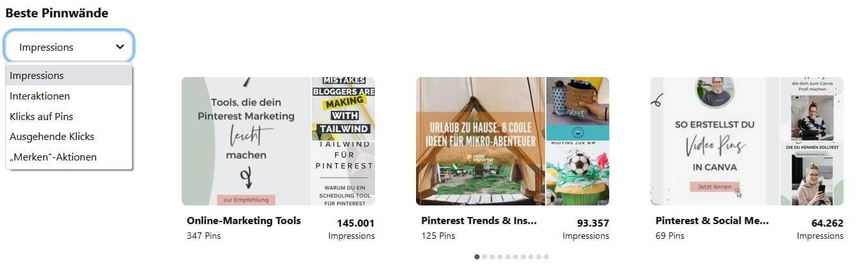 In den Pinterest Analytics siehst du genau, welche Pinnwände am erfolgreichsten sind.