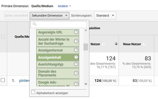 Google Analytics Pins analysieren