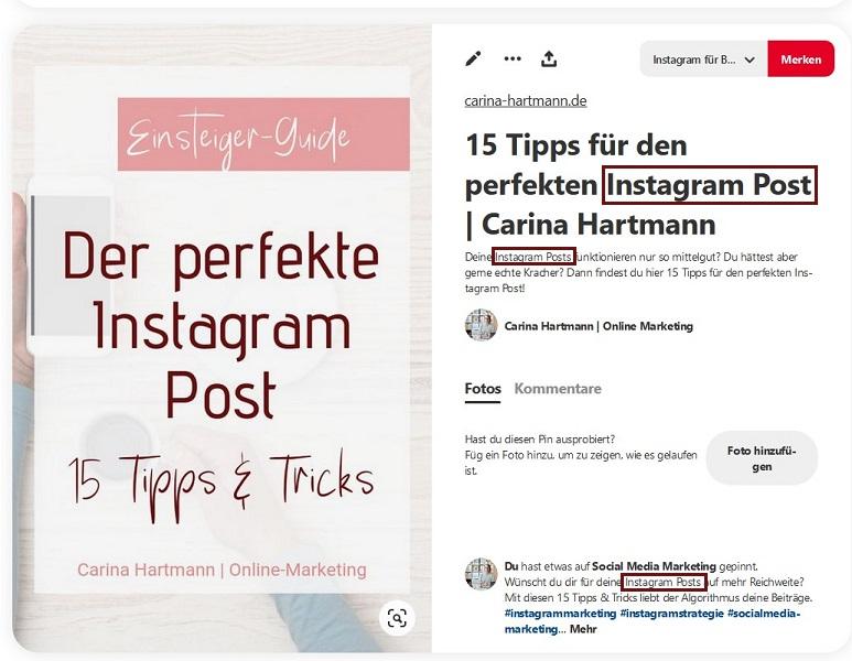 Pinbeschreibung Pinterest SEO