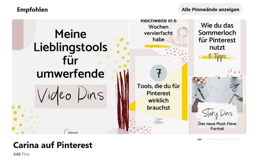 Empfohlene Pinnwände Pinterest