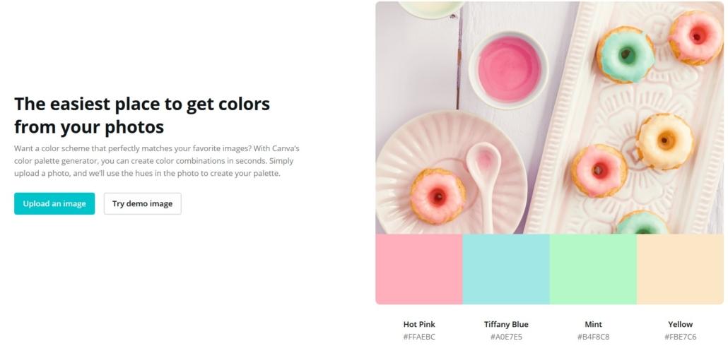 Mit dem Canva Color Palette Generator bekomsmt du die Farbcodes für deine Fotos