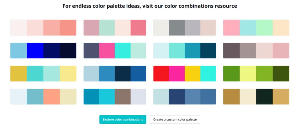 In den Canva Color Palettes findest du viele tolle Farbkombinationen für deine Pins