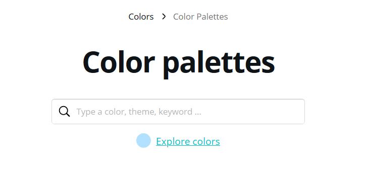 Die Suche im Canva Color Palette Generator erlaubt es dir schnell passende Farbkombinationen zu finden