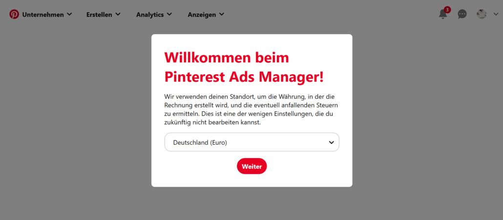 Im Pinterest Ads Manager richtest du alles für deine Promoted Pins ein