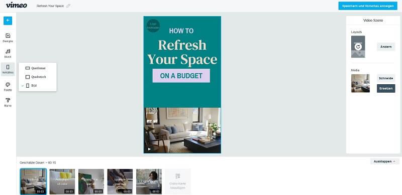 Das Dashboard von Vimeo Create ist intuitiv und übersichtlich