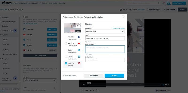 In Vimeo Create kannst du direkt die Pinnwand auswählen und Pin-Titel, Beschreibung und URL hinterlegen