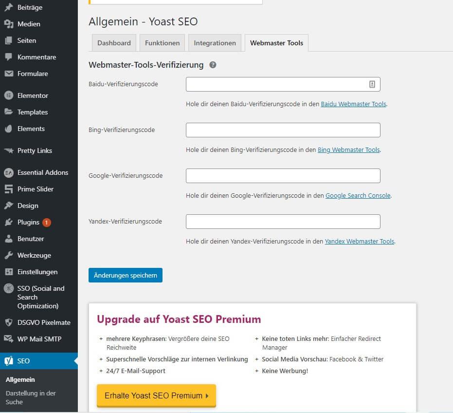 Mit dem Yoast SEO Plugin kannst du deine WEbsite in der Google Search Console bestätigen.